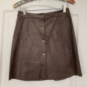 NWT Aritzia Wilfred grey velvet button miniskirt